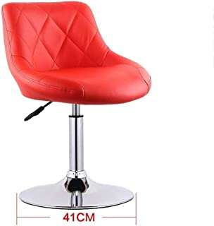 Seat Chair Embedded Solid Wood Plate 41Cm Bar Chair Chassis Bar Chair Leatherette Sponge Cushion Can Lifting 360 Swivel Chair Bar Household Restaurant Barstool 11.20 (Color : Red)