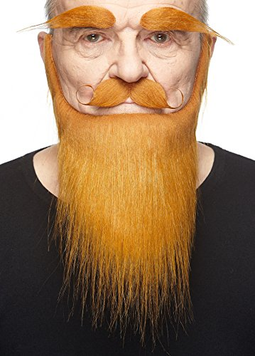 Mustaches Self Adhesive, Novelty, Medieval King Fake Beard, Fake Mustache and Fake Eyebrows, Ginger Color