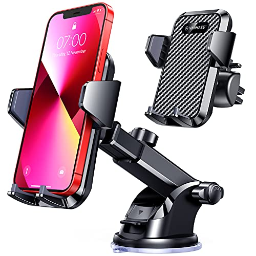 VANMASS Car Phone Mount,Patent & Safety CertsUpgraded Handsfree Stand, Dash Windshield Air Vent Phone Holder for Car, Compatible iPhone 11 Pro Xs Max XR X 8 7 6, Galaxy s20 Note 10 9 Plus