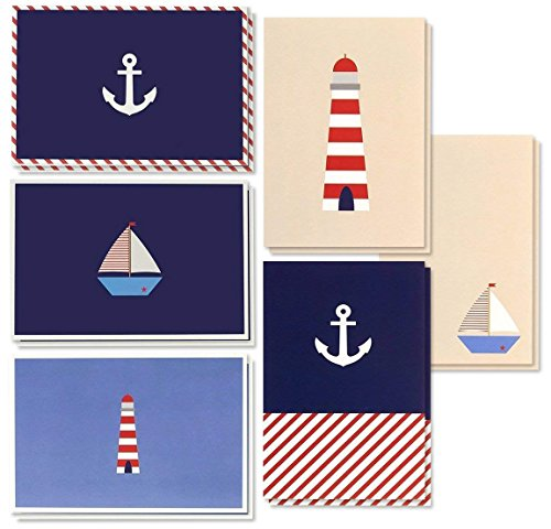 48 Pack All Occasion Assorted Blank Note Cards Greeting Card Bulk Box Set - Nautical Sea Theme Designs Sailboats, Anchors, Lighthouses Notecards with Envelopes Included 4 x 6 inches
