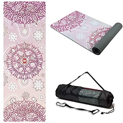 """WWWW Suede TPE Yoga Mat Eco Friendly Non Slip Yoga Mats with Carrying Strap and Bag 72""""x 24"""" Extra Thick 1/4"""" Exercise & Workout Mat for Yoga Pilates Home Fitness"""