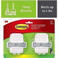 Command Broom Grippers, White, Indoor