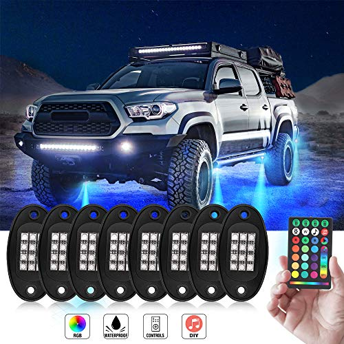 Rock Lights -JoaSinc RGB LED Rock Lights Muti-channel Control Color Lights DIY Remote Controller Timing Flashing Music Mode Underglow Neon Lights Kit for Trucks Cars Jeep Off Road SUV ATV (8 Pods)