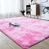 junovo Modern Abstract Shaggy Area Rugs Fluffy Soft Bedroom Rug for Kids Nursery Girls Boys Ultra Comfy Shag Fur Carpets Nursery Room Living Room Furry Decor Rugs, 4 ft x 5.9 ft, Pink