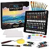 RATEL Juego de pintura acrílica, con 24 tubos de pintura, 10 pinceles, 1 #2 pincel, 2 lienzos, 1 paleta, 1 espátula, 1 esponja, no tóxicos, vibrantes y mezclable, para principiantes o profesionales