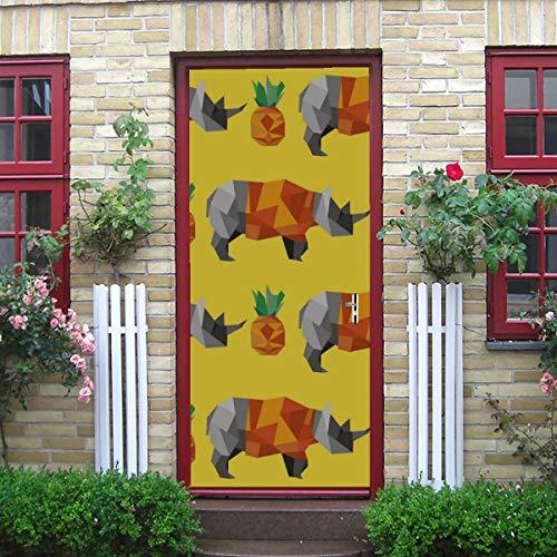 DUKAI Moderne Kunst 3D Tür Aufkleber, Origami Polygon Rhino Pine Muster schälen und Stick abnehmbare Vinyl Tür Aufkleber für Inneneinrichtungen, 30,3