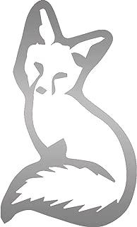USC DECALS Young Sitting Fox (Metallic Silver) (Set of 2) Premium Waterproof Vinyl Decal Stickers for Laptop Phone Accessory Helmet Car Window Bumper Mug Tuber Cup Door Wall Decoration