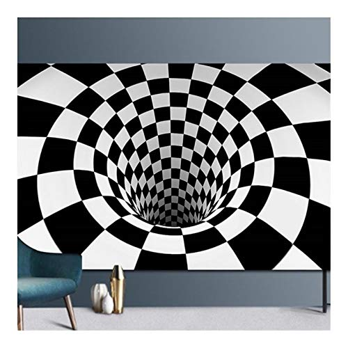 RongWang Alfombras de dormitorio con impresión en 3D, diseño de rejilla, color negro, blanco, para sala de estar, decoración del hogar (color: E, tamaño: 120 x 160 cm)