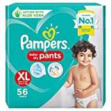 Pampers All round Protection Pants, Extra Large size baby diapers (XL), 56 Count, Anti Rash diapers, Lotion with Aloe Vera