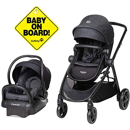 Lowest Prices! Maxi-Cosi Zelia Travel System with Mico 30 Car Seat - Nomad Black with Baby On Board ...