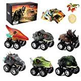 Dinosaur Car Toys for Boys - 6 Pack Kids Pull Back Dinosaurs Cars Toy for 3 Year Old Boy Girls,Small Dino Fun Mini T-Rex Truck for Toddler Age 3 4 5 6 7 Years Birthday Party Gifts