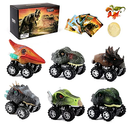 Dinosaur Car Toys for Boys - 6 Pack Kids Pull Back Dinosaurs Cars Toy for 3 Year Old Boy,Small Dino Fun Mini T-Rex Truck for Toddler Age 3 4 5 6 7 Years Birthday Party Gifts