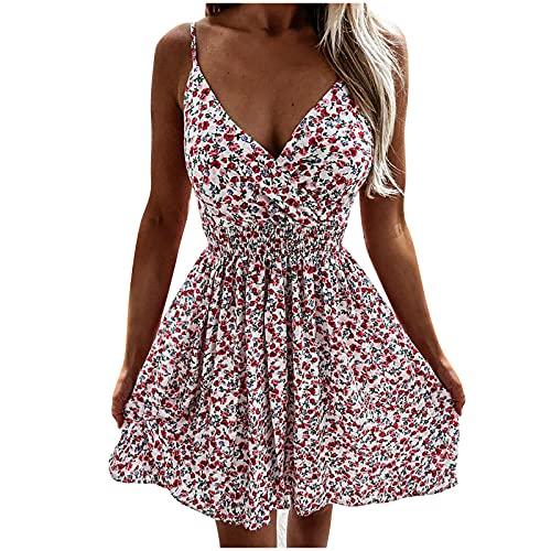 URIBAKY - Vestido mini para mujer, cuello redondo, sin mangas, estilo casual, con bolsillos, para mujer, falda corta y casual, vestido de playa A-blanco. XXL