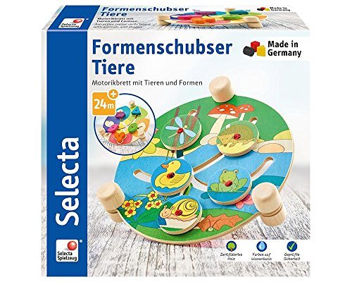 Selecta 62044 Forme schubser Animaux, motricité Jouet en Bois, 19 cm