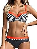 Tuopuda Bikini Push Up Mujer Bikinis con Relleno Trajes de Baño Bikini Sets Tops y Braguitas (ES 34-36, Naranja)