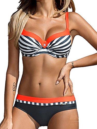 Yuson Girl Bikini Sets Damen, Bademode Push Up Bikinis Sexy Badeanzug Bikinis für Frauen (Orange,34)