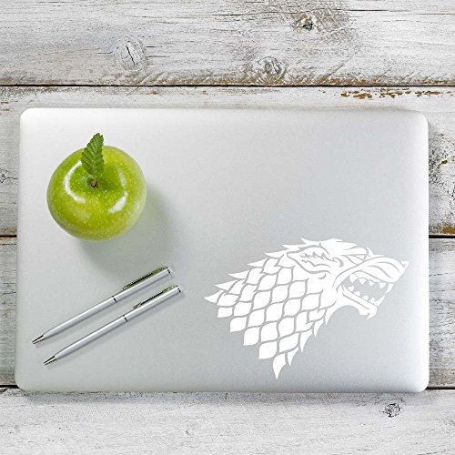 Stark Game of Throne Decal Sticker for Car Window, Laptop and More. # 1013 (4  x 5.7 , White)