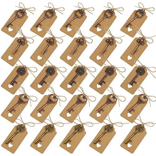 Chiave Apribottiglie Stile Vintage Chiave Apri di Bottiglia e Tag 5 Stili Apri della Bottiglia di Birra per Decorazione di Matrimonio Banchetto Rame Antico 25 Pezzi