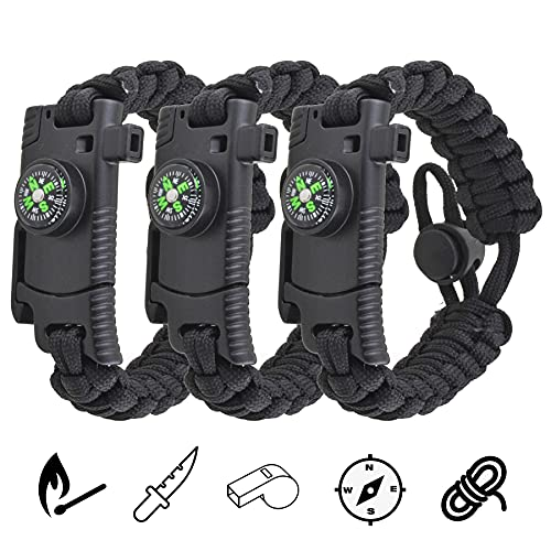 Adjustable Paracord Bracelets, 3-Pack Multifunctional Tactical Survival Bracelet with Embedded Compass/ Fire Starter/ Emergency Knife/ Rescue Whistle for Hiking Camping Fishing Hunting