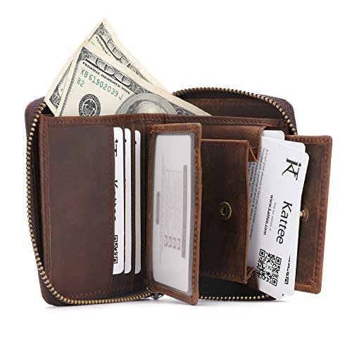 Kattee Unisex Vintage Look Genuine Leather Zipper Wallet Credit Card Holder Purse Photo #6