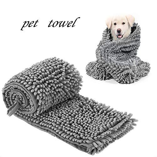 HOMEJIA Huisdier Badhanddoek Sneldrogend Super Zachte Absorberende Handdoeken Handzakken Chenille Stof Machine Wasbaar Voor Hond Kat Puppy Pet, S