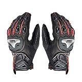 guanti moto,Guanti da cavaliere da corsa traspiranti anticaduta per uomo e donna guanti da moto guanti in pelle in fibra di carbonio XXL rosso d