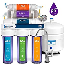 Express Water Reverse Osmosis Alkaline Water Filtration System – 10 Stage RO Water Filter with Faucet and Tank – Under… 4 Reverse Osmosis Water Filter: Experience what water should taste like with the Express Water reverse osmosis water filtration system removing up to 99.99% of Lead, Chlorine, Fluoride, Nitrates, Calcium, Arsenic, Bacteria, and more Alkaline Water Filter: Express Water's Alkaline Water Filter with Active Mineral Technology adds Calcium, Potassium, Magnesium, and other minerals to your water Under Sink Water Filter: Don't waste money on professional installation. Express Water's quick and easy-to-understand design means you can install and understand everything about your new water filtration system