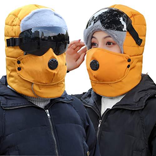 Macabolo Thermische Winter Trapper Hut Winddichte Ski Hut warm Jagd Hut mit Ohrenklappen Brille und Maske für Männer Frauen