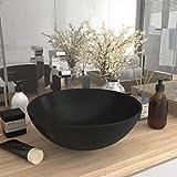 Tidyard Lavabo de Cuarto de Baño Lavabo Moderno Redondo de Cerámica Lavabo Cerámica sobre Encimera Negro Mate 28 x 10 cm