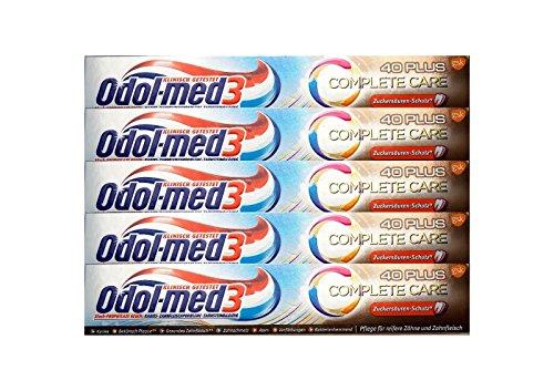 5x 75ml Odol-med 3 Complete Care 40Plus Zahnpasta Zuckersäure-Schutz toothpaste