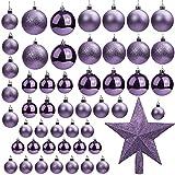 Belle Vous Bolas de Navidad Color Lila (Pack de 50) Tamaños Variados Bolas Navideñas con Brillo y Estrella de Navidad para la Punta - Adornos de Navidad Decor Fiestas Interior y Exterior