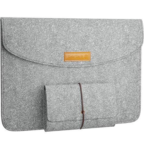 XeloTech Edle Filz-Tasche für iPad Pro 11 Zoll, iPad 10.2, iPad 9.7, iPad Air 3 (2019) 10.5, Surface Go - Mit Zubehörtasche für Ladekabel - Hülle für Reise, Uni, Büro - Hellgrau