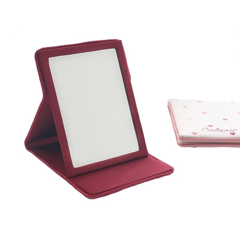 人差し指メーターガイドMYOMYO化粧鏡 卓上ミラー 卓上スタンドミラー 折りたたみミラー 旅行鏡 旅行適用 (ピンク)