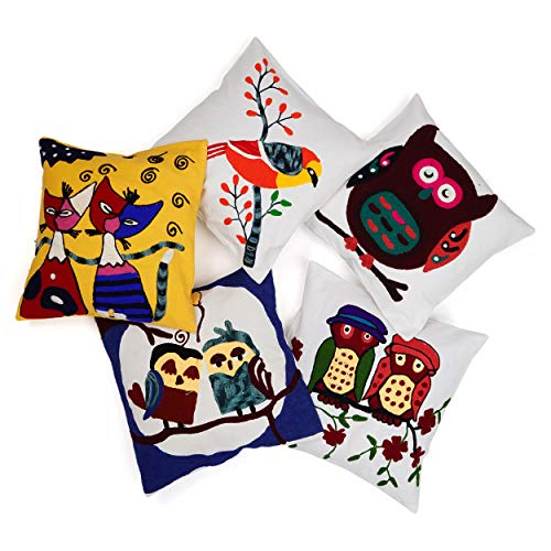 Handicraft Bazar R Suzani - Funda de cojín con bordado indio para sofá, decoración para el hogar, funda para cojín de respaldo de Euro, funda de cojín bohemia