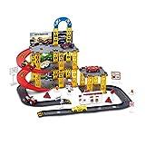 MAJOZ0 Aparcamiento infantil de 3 pisos, garaje de aparcamiento con 1 minicoche y 2 motocicletas, juguete para niños