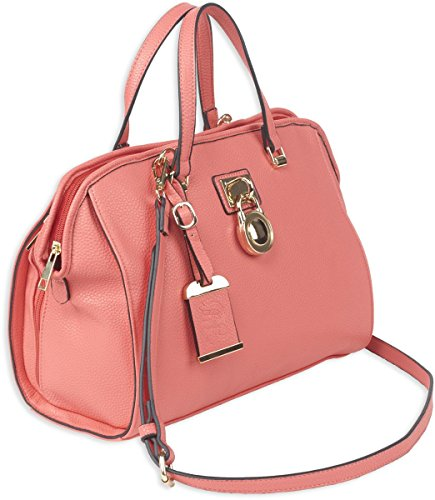 Bulldog Cases Satchel Style Concealed Carry Purse with Holster, Coral- Medium