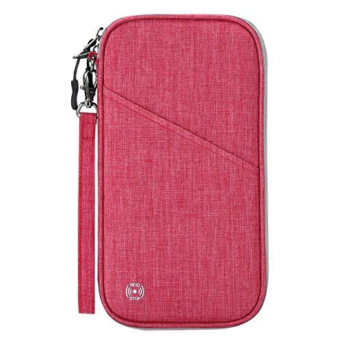 Vemingo Soporte para pasaporte familiar con diseño de acordeón RFID – Bloqueo de cartera de viaje, soporte para documentos con cremallera para mujeres y hombres
