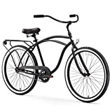 sixthreezero Around The Block Men's Single-Speed Beach Cruiser Bicycle, 26' Wheels, Matte Black with Black Seat and Grips