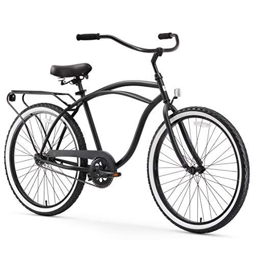 "sixthreezero Around The Block אופני קרוזר חוף חד-מהיריים גברים, גלגלים 26 "", שחור מט עם מושב שחור ואחיזות"