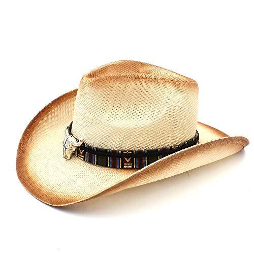 Chapeau de paille Main paille été femmes hommes chapeau de cow-boy avec bohème tête de taureau bande pour dame papa western sombrero hombre Crème solaire ( Couleur : Naturel , Taille : 58cm )