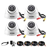 ZOSI 4 Pack 1080p Dome Camera Outdoor Indoor (Hybrid 4-in-1