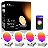 Recessed Lighting- Lumary 6 inch Smart WiFi Recessed Lights 13W 1100LM Smart Downlight with Junction Box Compatible with Alexa/Google Assistant(6 Inch-4PACK)