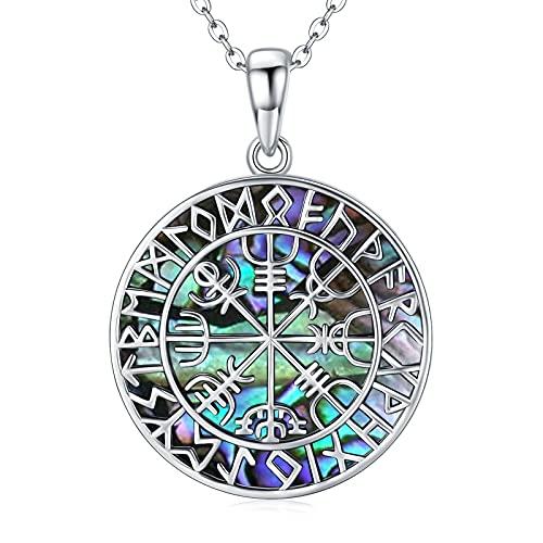 Collar vikingo de plata de ley 925, colgante vikingo de abulón, cadena Vegvisir, joyas regalo para mujeres y hombres, cadena de plata de 45 cm + 5 cm