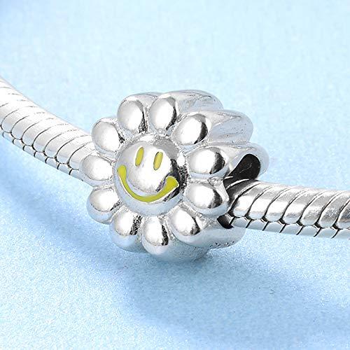 DASFF Mode 925 sterling zilver nagellak geel gesorteerde zonnebloem maat originele armband sieraden