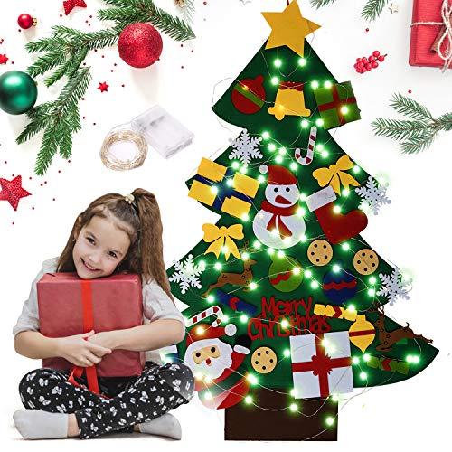 N/D Filz Weihnachtsbaum, DIY Filz Weihnachtsbaum mit 30 Stück abnehmbaren Ornamenten und 10CM 100 Led Lichter Lichterkette Wandbehang Filz Baum Weihnachtsdekoration Kinder.