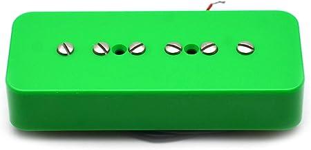 電気ギターピックアップ P-90 P90ギター用シングルコイルソープバーピックアップブラック/ホワイト/アイボリー/グリーンギターパーツ (Color : Green Neck Pickup)