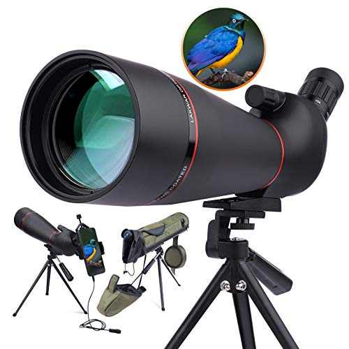 LAKWAR 20-60 x 80 mm HD Spotting Scope para observación de aves, telescopio monocular BAK4 ocular en ángulo de 45 grados con bolsa de...