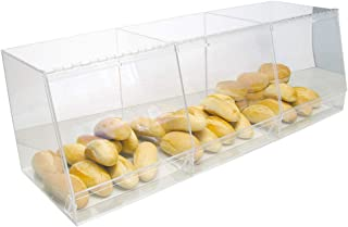 Bulk Bread Storage Display Case 3 Containers for Deli or Convenience Stores, Bakery Sandwich Pastry Donut or bagel with removable crumb cleanout