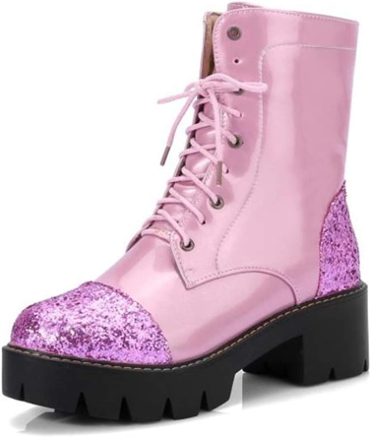 BeautyOriginal Women Boots Sequined Ankle Bootie Chunky Heels Lady Winter Boots