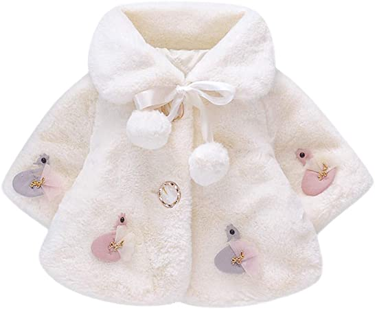 Baby Girl Winter Warm Coat Cloak Newborn Baby Girl Cape Infant Fur Thick Clothes